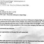 Alert Moving Testimonial - Chilliwack to Maple Ridge
